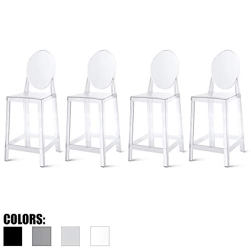 "2xhome Set of Four (4) - 25"" Seat Height Barstool Modern Ghost Side Bar Stool Counter Stool - Accent Stool - Lounge No Arms Armless Arm Less Chairs Seats Mid Century Design (Clear)"