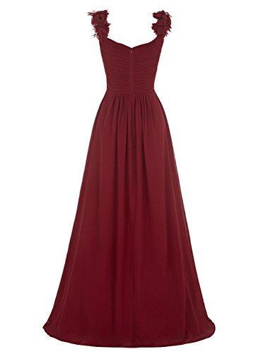 Dresstells®Vestido Ceremonia V Cuello De Gasa Con Tirantes Rojo Oscuro