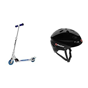 Razor A3 Kick Scooter, Blue, Frustration Free Packaging w/ Black Helmet