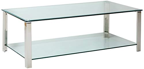Cortesi Home CH-CT646007 Melissa Double Shelf Glass Coffee Table Chrome & Glass