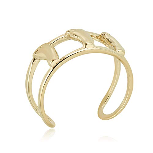 10K Yellow Gold Adjustable Double Row Cuff with Footprint Toe Ring