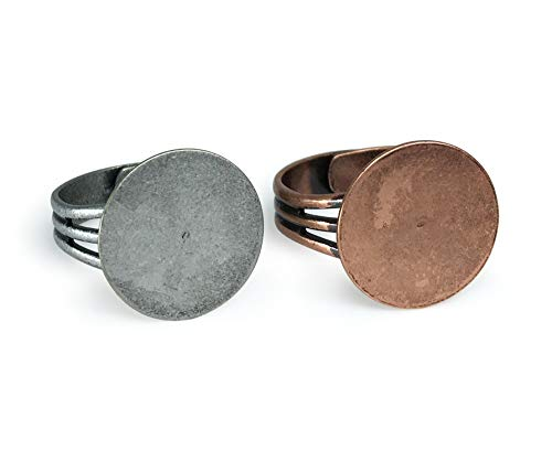 Antique Copper and Antique Silver Ring Blanks with 16mm Flat Adjustable Ring Base 6 Pieces Copper and 6 Pieces Silver - 12 Blank Rings Total