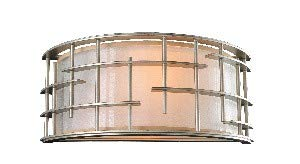 Kalco 6480TS Atelier - Two Light Horizontal Wall Sconce, Tarnished Silver Finish with Clear Organza Fabric -