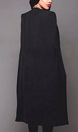Capa Cappotto Nero Casual Manica Blazer Ragazza Chic Primaverile Tailleur Autunno Da Monocromo Sciolto Eleganti Giacca Business Lungo Ufficio Fashion Poncho Lunga Donna SHY4wqA1H