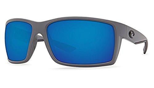 Costa Reefton Sunglasses & Cleaning Kit Bundle Matte Gray / Blue Mirror 580p