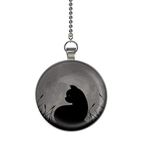 Black Kitten Under the Moon Glow in the Dark Fan/Light Pull Pendant with Chain