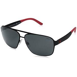 Polo Ralph Lauren Men's Metal Man Square Sunglasses, Rubber Black, 62 mm