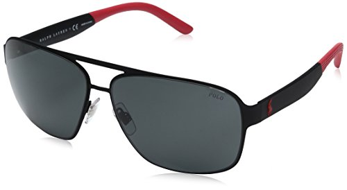 Polo Ralph Lauren Men's Metal Man Square Sunglasses, Rubber Black, 62 - Sunglasses China Designer