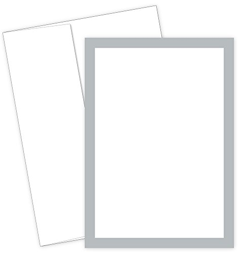 Great Papers! Metallic Silver Border Flat Card Invitation with Envelopes, 5.5