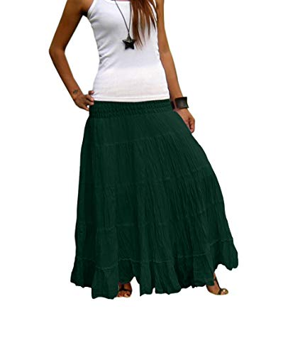 Women's Plus Size Long Maxi Pleated Skirt with Elastic Waist One Size Fits Most. Green -