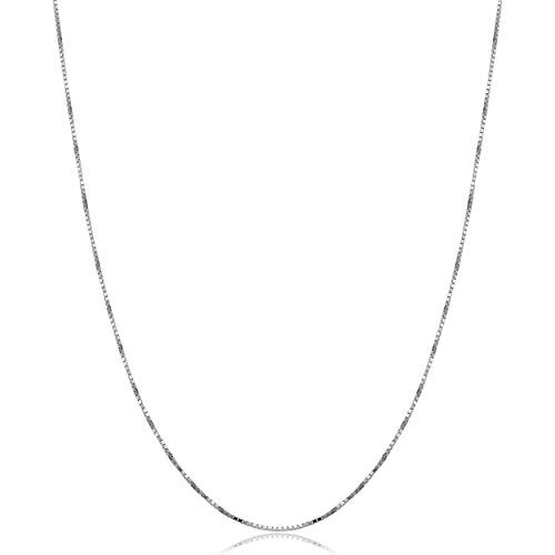 Kooljewelry Solid 10k White Gold Box Chain Necklace (0.7 mm, 18 inch) (18 Inch 10k White Gold Box Chain)