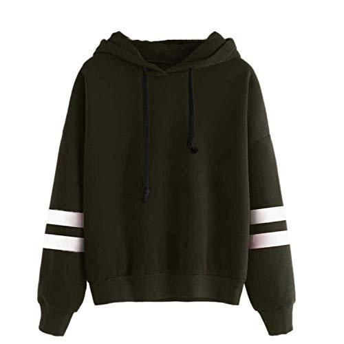 felpa armygreen cappuccio semplice Comradesn Womens stile con maglione con cappuccio lunga Piccolo manica pullover 4BX4HWUp