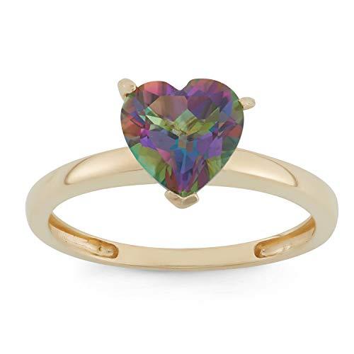 (Celebration Moments Mystic Green Topaz Heart Shape Ring in 10K Gold, 8mm - Size 8)