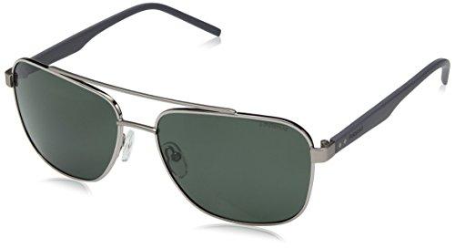 Men's Pld2044us Polarized Rectangular Sunglasses, Ruthenium, 60 mm ()
