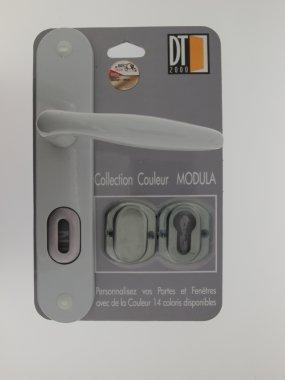 MODULA 1//2 poign/ée de porte int/érieure r/éversible design en Aluminium laqu/é gris galet sur plaque multifonction entraxe 195 mm