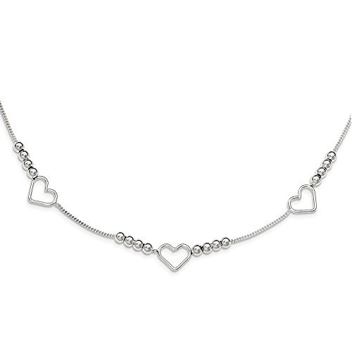 Polished Heart Lock - Solid 925 Sterling Silver Polished Beaded 7 Hearts 18in Necklace Chain 18