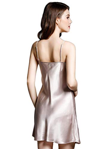 Camisón Ocasional Silbergrau Sleepwear Camisones Silk Sin Cómodo Mujeres Vestido Pijama Elegantes Verano V Mangas Fashion cuello Suave Sling Cortos Casuales Mujer 1dwq4xzw