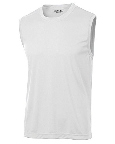 Clothe Co. Mens Sleeveless Moisture Wicking Muscle Shirt, White, XL
