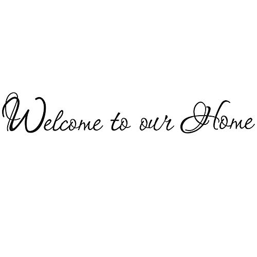 Boodecal Quote Series Welcome to Our Home Wall Black Lettering Stickers Quotes and Sayings Home Art Dcor Decal for Door Entrance Living Room 33*5 Inches