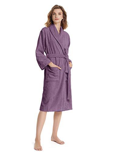 SIORO Badstof Badjas Kimono Dames Badjas Katoen Douche Gewaad Absorberend Kalf Lengte Housecoat
