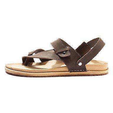 Zapatos de hombre exterior sandalias de cuero marrón/negro Brown