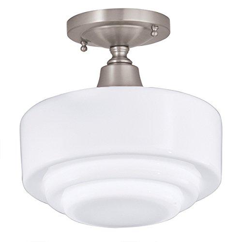 Norwell Lighting 5361F-BN-ST Schoolhouse - One Light Flush Mount, Glass Options: Stepped, Choose Finish: BN: Brushed Nickel