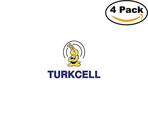 Turkcell 4 Stickers 4X4 Inches Car Bumper Window Sticker Decal