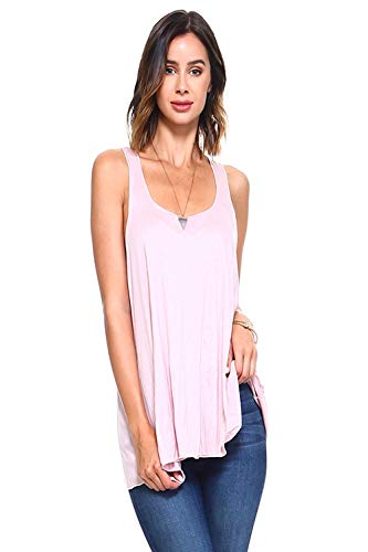 Simplicitie Women's Sleeveless Loose Fit Flowy Workout Racerback Tank Top - Mauve, Large - Made in USA