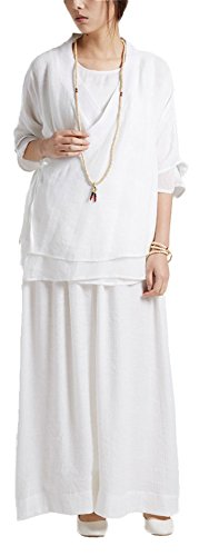 [Plaid&Plain Women's Han Chinese Traditional Style Ancient Costume Blouses White-2 freesize] (Han Chinese Costume)