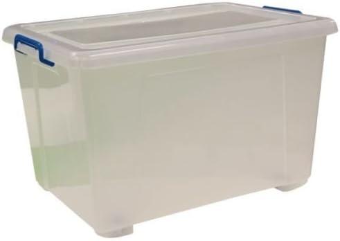 3 x Extra Grande 90 litros Heavy Duty Claro caja de almacenamiento ...