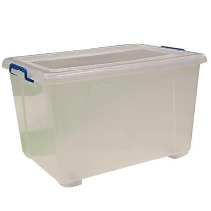 3 x Extra Grande 90 litros Heavy Duty Claro caja de almacenamiento de plástico apilables Cajas