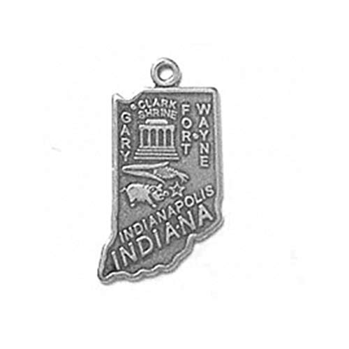 (925 Sterling Silver Indiana State Us America Indianapolis Charm For)