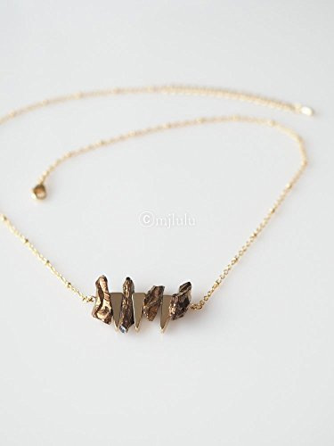 Triple Gold Plated Triangle Gold Raw Crystal Quartz Stone Ball Chain Necklace