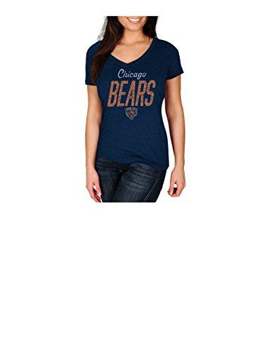 NFL Chicago Bears Women's Winning Ranks Program Short Sleeve V-Neck Tee, Large, Navy Heather by VF LSG