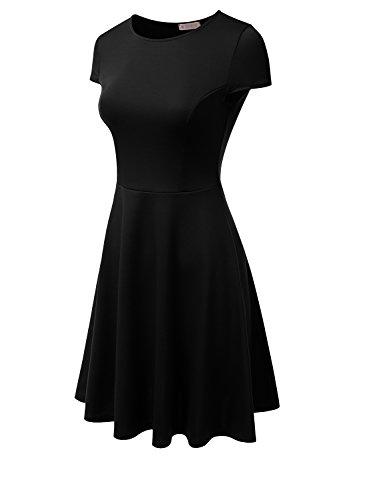 Plus black USA Women Midi Doublju Dress Stretchy in Size Skater Awdsd0693 Flared Made nFqvx7wvY