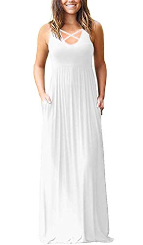 (INFITTY Women's Loose Plain Sleeveless Racerback Maxi Dresses Casual HighWaisted Long Dresses with Pockets White 2X-Large)