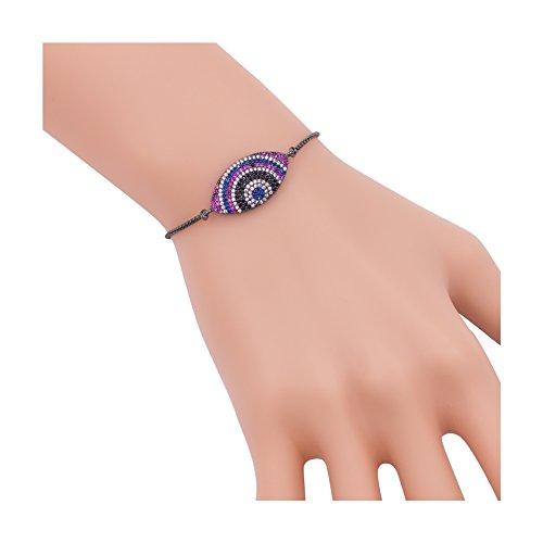 Geerier Zircon Evil Eye Macrame Bracelet Adjustable Link Chain Bracelet For Women Girls
