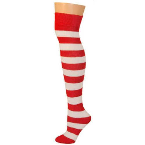 AJs Adult Long Knee High Striped Socks - Red/White, Sock size 11-13, Shoe Size 5 and -