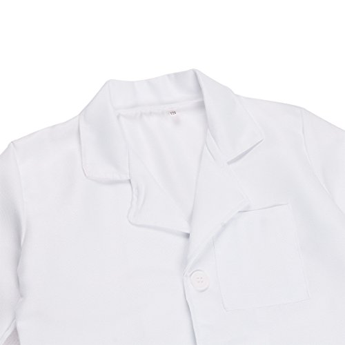 Freebily Scrubs Childrens Lab Coat-Soft Fabric Long Sleeve Doctor Uniform White Cosplay Dress up Costume White 4-5 by Freebily (Image #2)