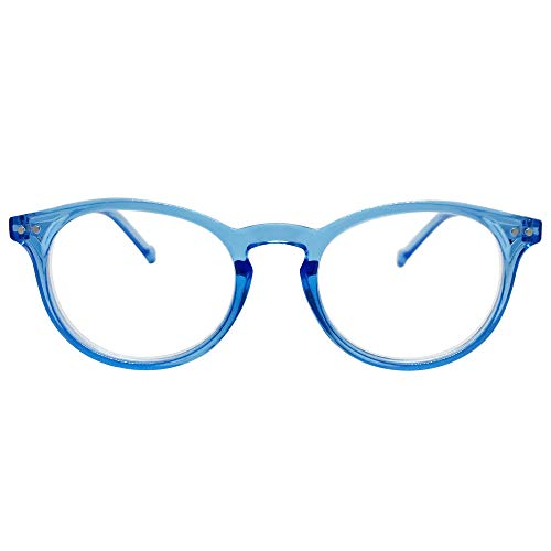 Seattle Premium Reading Glasses (Clear Light Blue, 3.0)