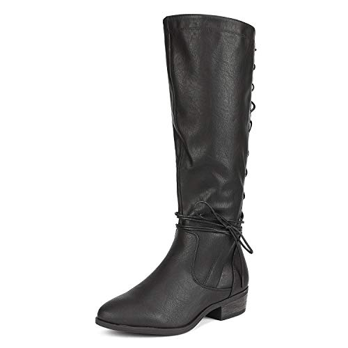 DREAM PAIRS Women's Black Knee High Riding Winter Boots Roice Size 7.5 B(M) US (Riding Boots For Juniors)