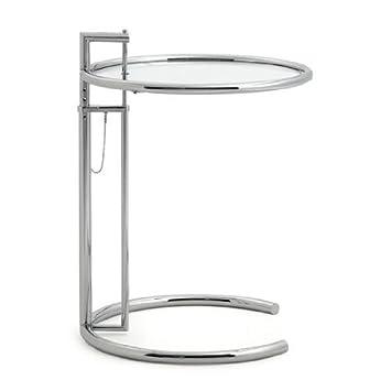 adjustable table e1027 eileen gray classicon beistelltisch kristallglas designklassiker von klingenberg