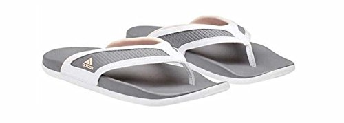 Adidas Thongs - adidas Adilette Cloudfoam Plus Summer Flipflop Women's Swimming 9 White-Coral-Grey
