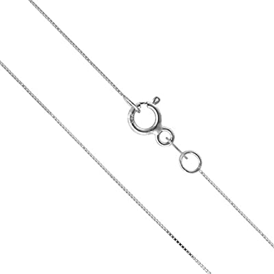 14K Solid White Gold Box Chain Necklace by Honolulu Jewelry Company