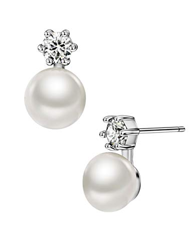 Earring Vs1 (Freshwater Pearl Stud Earrings Sterling Silver with CZ Accents Jewelry for Women White)