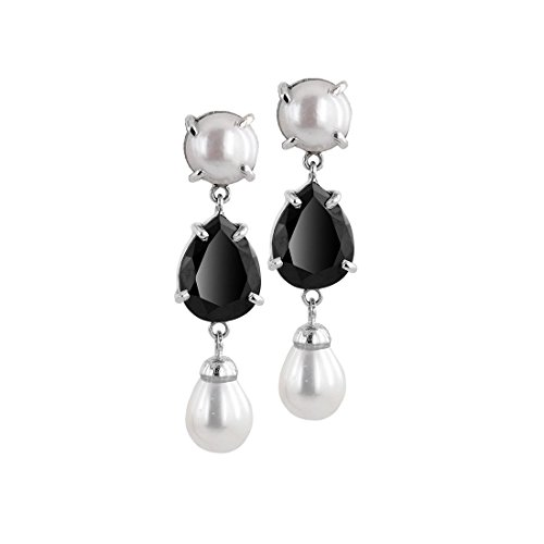 1.50 Carat Pear Black Diamond Solitaire with Pearl Beads Silver Earrings Gift for Wife by Gems River