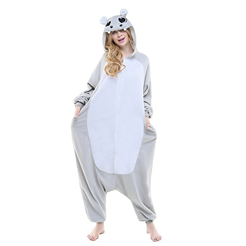 NEWCOSPLAY Hippo Costume Sleepsuit Adult Onesies Pajamas (M, Grey -