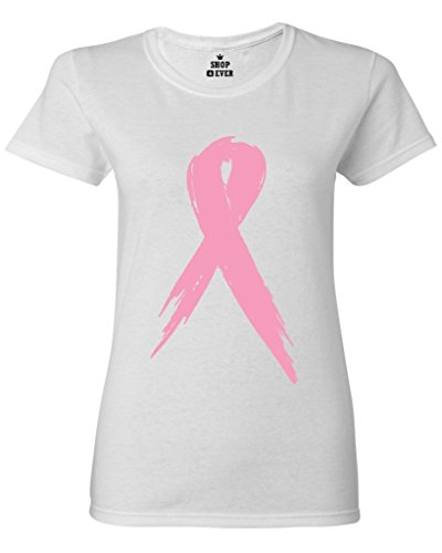 Shop4Ever Pink Breast Cancer Ribbon Women's T-Shirt Large White 0