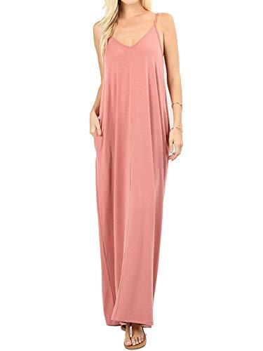 MixMatchy Women's Summer Casual Plain Flowy Pockets Loose Beach Cami Maxi Dress Ash Rose S
