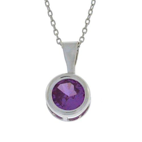 1-Carat-Created-Alexandrite-Round-Bezel-Pendant-925-Sterling-Silver-Rhodium-Finish